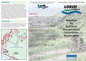 Angebote für Radfahrer Mountainbiker Inlineskater Skateboarder