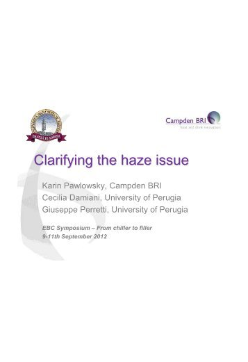 Clarifying the haze issue - European Brewery Convention