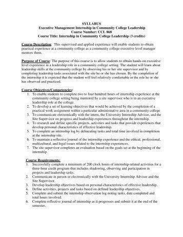 SYLLABUS Executive Management Internship in Community ...
