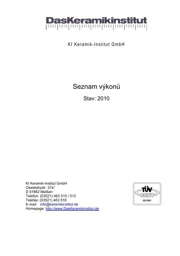 Seznam výkonů - Keramikinstitut Meißen