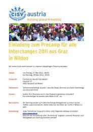 Einladung zum Precamp für alle Interchanges 2011 aus Graz ... - CISV