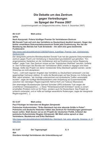 Die Debatte im Spiegel der Presse 2007 - Zeitgeschichte-online