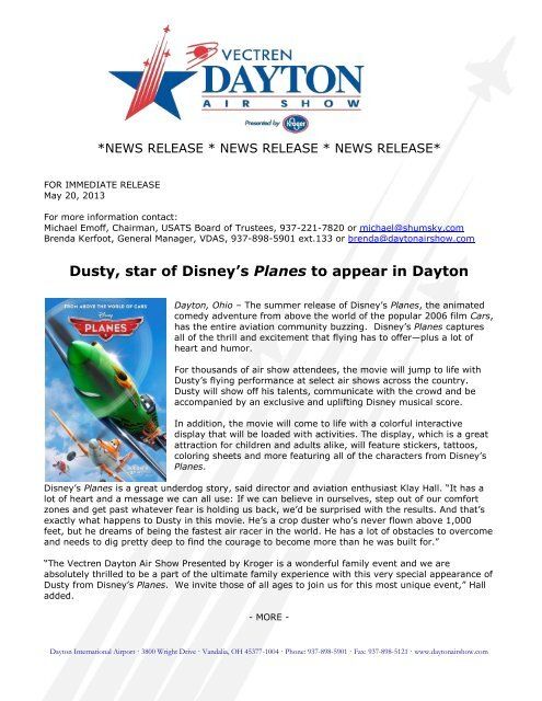 Dusty, star of Disney's Planes to appear in Dayton - Dayton Air Show
