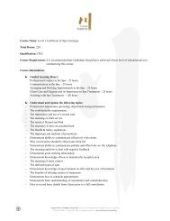 Course Name: Level 1 Certificate of Spa Concierge ... - Chuan Spa