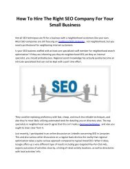 How To Hire The Right SEO Company For Your Small Business