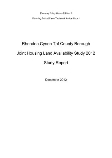 Rhondda Cynon Taf County Borough Joint Housing Land ...