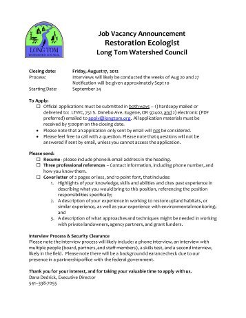 Restoration Ecologist - Institute for Water and Watersheds