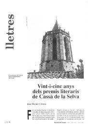 Vint-i-cinc anys deis premis literaris de Cassá de la Selva - Raco