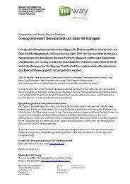 03. März 2011 Medienmitteilung m-way Kooperation mit Bosch ...