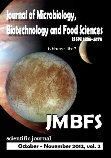 The Journal of Microbiology, Biotechnology and Food Sciences