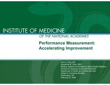 Performance Measurement: Accelerating Improvement - National ...