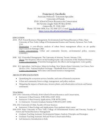 Curriculum Vitae - School of Forest Resources & Conservation ...