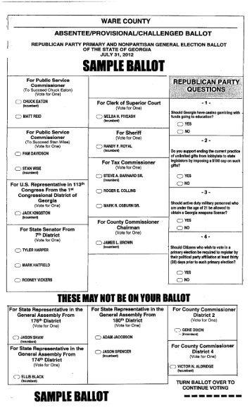 official republican ballot bradford county, pennsylvania