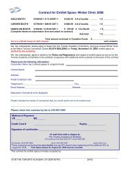 Contract for Exhibit Space- Winter Clinic 2008 - Toronto Academy of ...
