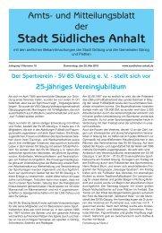 Der Sportverein - SV 85 Glauzig e. V. - Stadt Südliches Anhalt