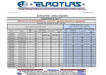 Preuzmite aranzman u PDF formatu - Euroturs