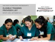 ETPL Report Card - San Diego Workforce Partnership