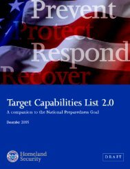 Department of Homeland Security - Target Capabilities List