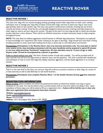 Growly Dog Class Questionnaire - Seattle Humane Society