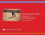 Clinical Integration 2009 - Advocate Health Care