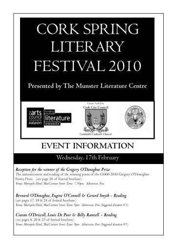 to download the festival timetable of events. - Munster Literature ...