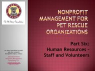 Part Six: Human Resources: Staff and Volunteers - Maddie's Fund