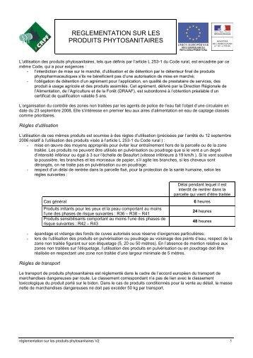 reglementation sur les produits phytosanitaires - CRPF Limousin