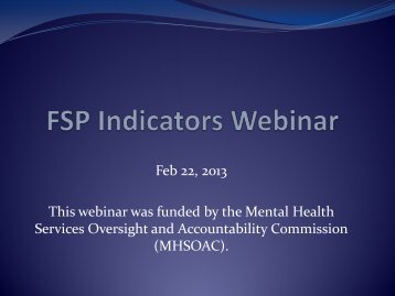 FSP Indicators Webinar PowerPoint - Mental Health Services ...
