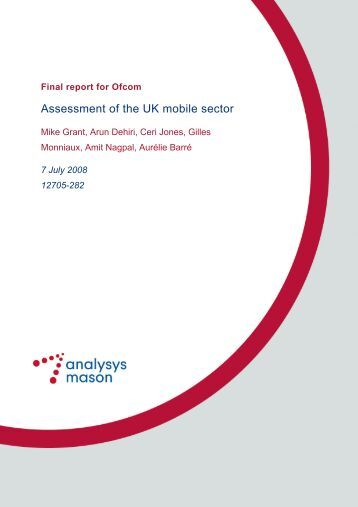 Assessment of the UK mobile sector - Analysys Mason