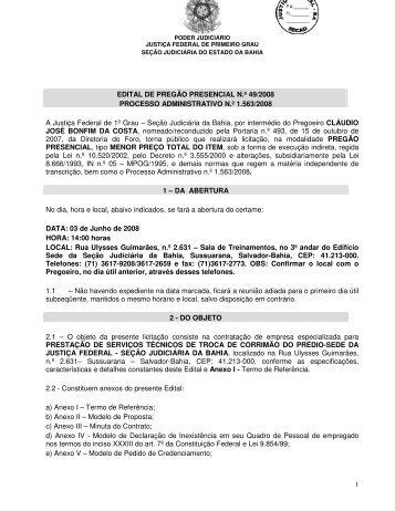 EDITAL DE PREGÃO PRESENCIAL N.º 49/2008 ... - Justiça Federal