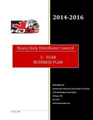 HDDC Business Plan - Automotive Industries Association of Canada