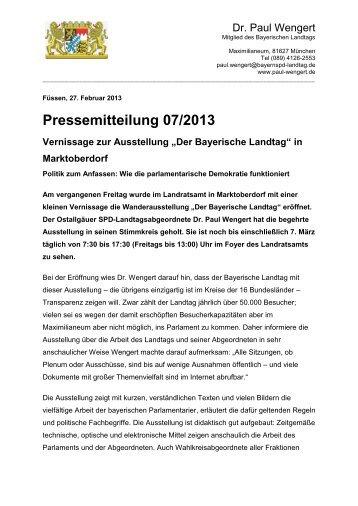 PM 072013Der Bayerische Landtag - Dr. Paul Wengert
