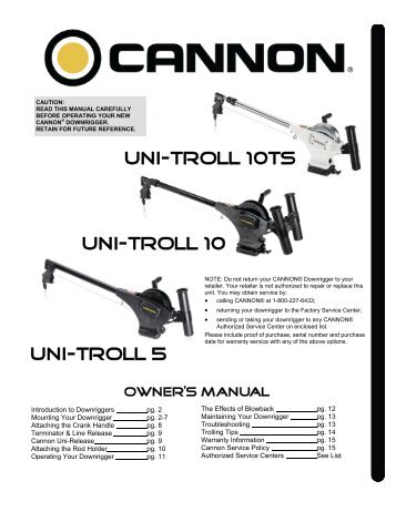 Digi-troll iv manual cannon downriggers.