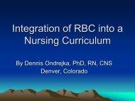 Integration of RBC into a Nursing Curriculum - IUPUI