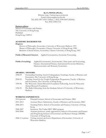 1 CURRICULUM VITAE CASSEY LEE HONG KIM Contact School of ...