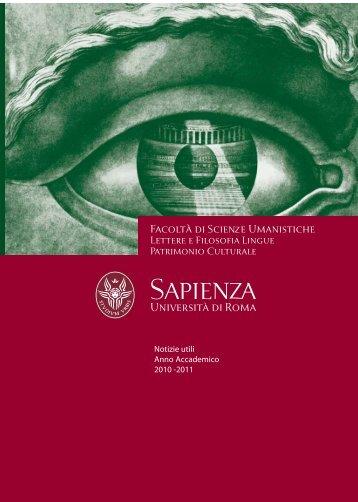 Facoltà di Scienze Umanistiche - Notizie utili A.A. 2010 -2011