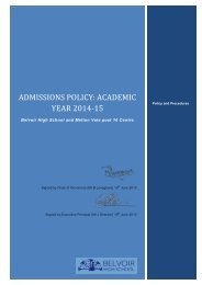 Belvoir High School Admissions Policy 2014-15