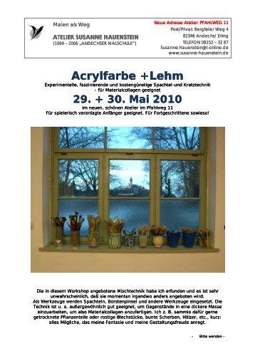 Acrylfarbe +Lehm Acrylfarbe +Lehm Acrylfarbe +Lehm - Susanne ...