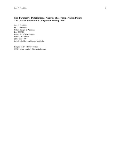 Nonparametric Distributional Analysis of a ... - UrbanSim