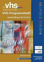 Programmheft Herbst-/Wintersemester 2013 - vhs im Landkreis ...