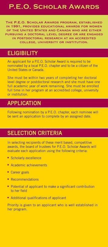 P.E.O. Scholar Awards - PEO International
