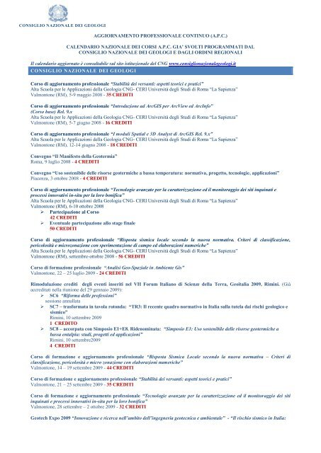 calendario nazionale dei corsi apc gia' svolti programmati dal ...