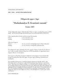 "Markedsanalyse II. Kvantitativ metode"" - Syddansk Universitet"