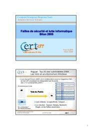 Bilan 2005 sur les failles de sécurité et la lutte informatique - Cert-IST