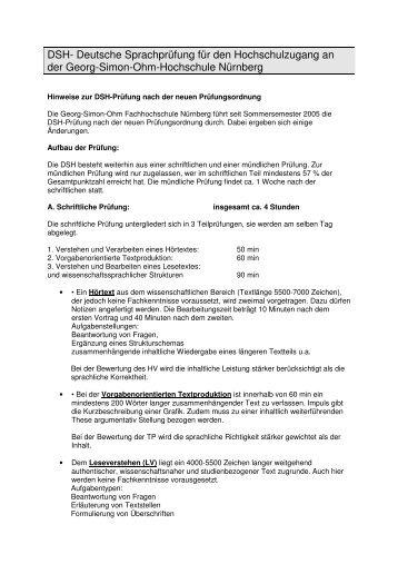 dsh deutsche sprachprfung fr den ohm hochschule nrnberg - Dsh Beispiel