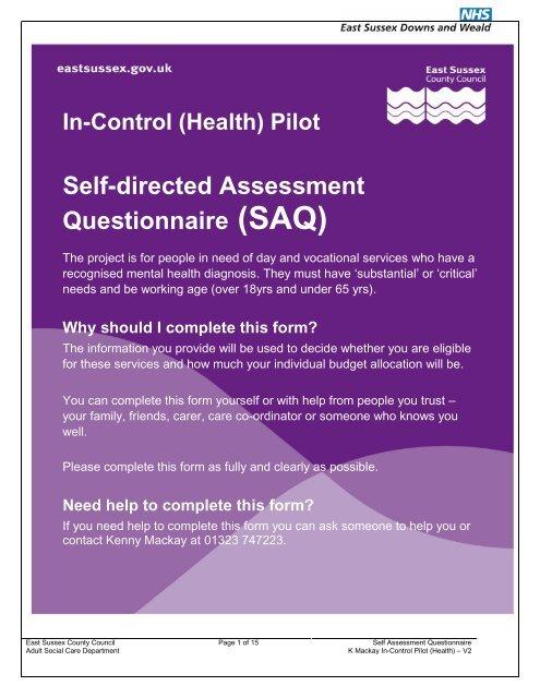 East Sussex Pilot Saq Tasc Questionnaire Pdf 512kb