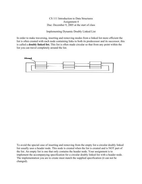 CS 111 Introduction to Data Structures Assignment 4 Due