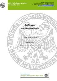 Profilgruppe Gesundheitsökonomie - Universität zu Köln