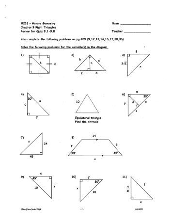 Printables Geometry Honors Worksheets geo 9 ch 8 right triangles geometry review worksheet m218 honors chapier triangles