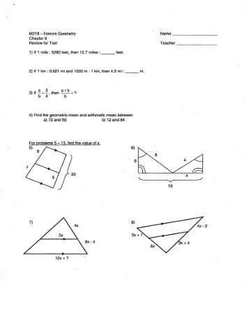 Worksheets Geometry Honors Worksheets honors geometry law of cosines sas area worksheet name m218 chapter 8 review for test